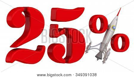 A Symbol Of Rapid Growth Of Twenty-five Percent. Red Twenty Five Percentage Symbol With Rocket. Isol