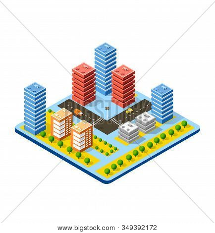 Colorful 3d Isometric City Of Stock Illustration