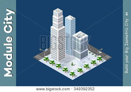 Isometric Module Of The Modern 3d City. Winter Landscape Snowy Trees, Streets. Three-dimensional Vie