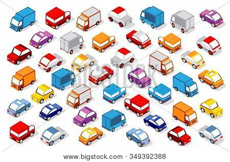 Colorful 3d Isometric Set Of Cars Of Stock Illustration