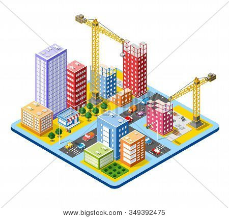 Module Isometric City Of Houses Of Stock Illustration