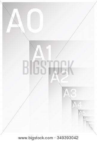 A Series Paper Sizes With Labels. Simple Flat Vector Illustration
