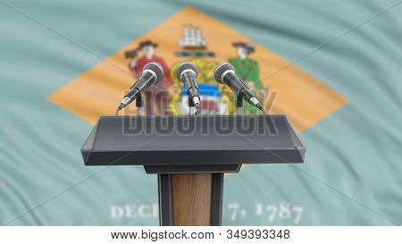 3d Illustration. Podium Lectern With Microphones And Delaware Flag In Background