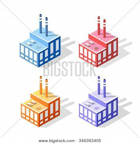 Set T Of Colored Colorful 3d Industrial Urban Factories