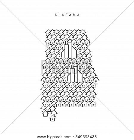 Alabama Real Estate Property Map. Icons Of Houses In The Shape Of A Map Of Alabama. Creative Concept