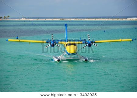 Seaplane On A Water, Maldives