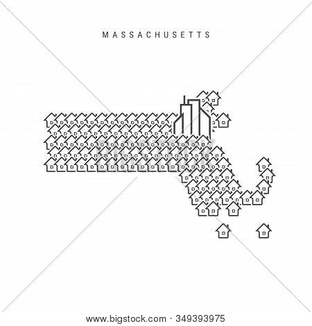 Massachusetts Real Estate Property Map. Icons Of Houses In The Shape Of A Map Of Massachusetts. Crea