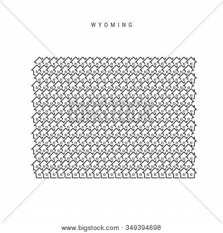 Wyoming Real Estate Property Map. Icons Of Houses In The Shape Of A Map Of Wyoming. Creative Concept