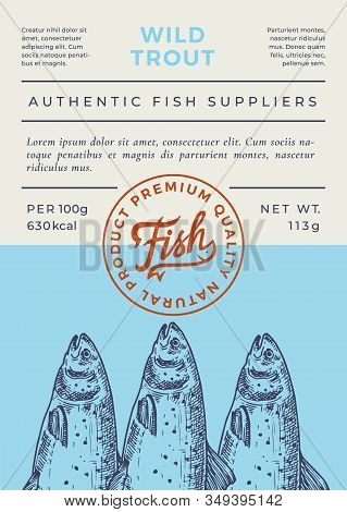 River Fish Abstract Vector Packaging Design Or Label. Modern Typography Banner, Hand Drawn Wild Rive