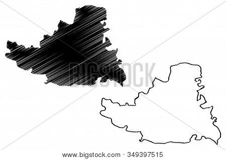 South Backa District (republic Of Serbia, Districts In Vojvodina) Map Vector Illustration, Scribble