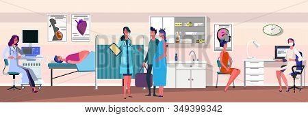 Doctor Examining Pregnant Patient. Ultrasound Scanner, Couple, Medical Office Flat Vector Illustrati