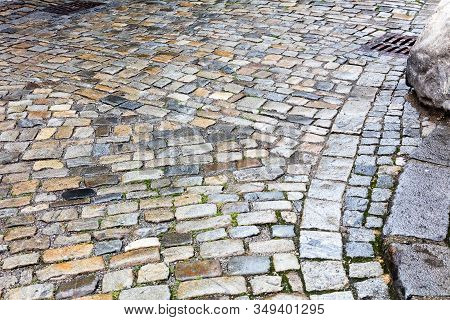 Street Pavement And Old Wet Cobblestones Various Color