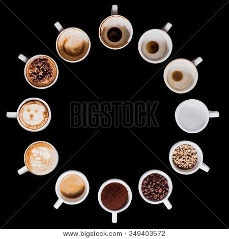 Circle Of Cups Of Coffee On A Black Background