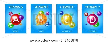Multivitamins Supplements 4 3d Colorful Realistic Advertising Posters Set With Essential Vitamins Bl