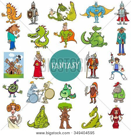 Cartoon Illustration Of Funny Fantasy Or Fairy Tale Characters Large Set