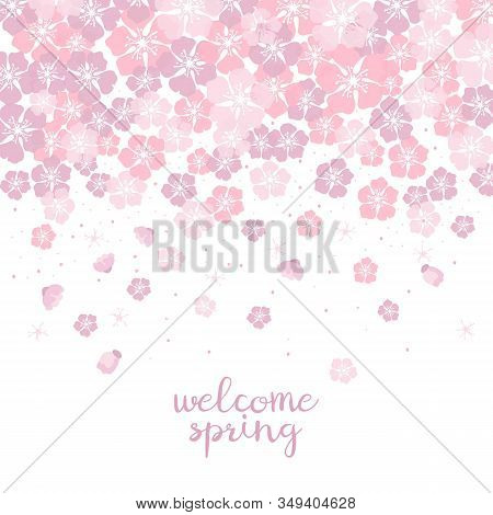 Cute Background With Cherry Blossom With Text 'welcome Spring'.