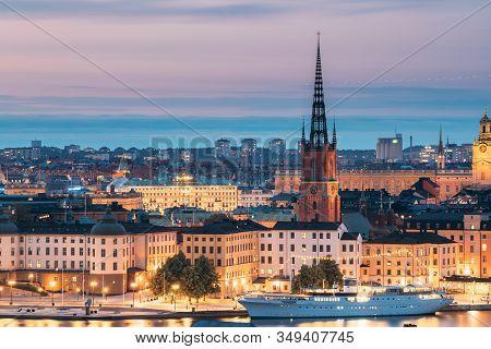 Stockholm, Sweden - June 29, 2019: Scenic View Of Stockholm Skyline At Summer Evening. Famous Popula