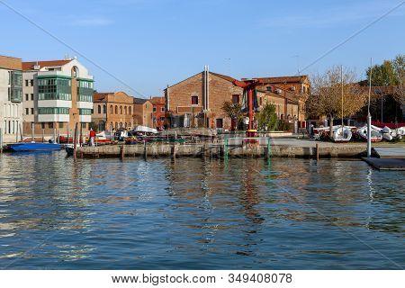 The Boat Dock On The Island Of Giudecca Italy