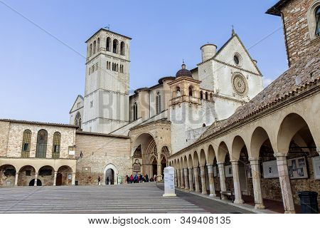 The Courtyard Leading The To The Entrance Of Saint Francis Basilica