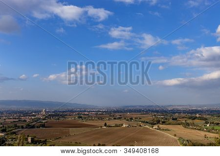 Looking Down At The Town Of Assisi From The Basilica In Italy