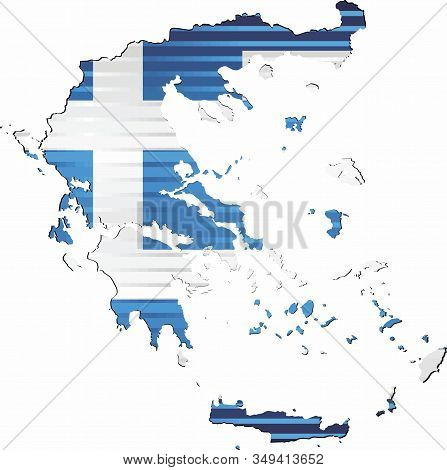 Shiny Grunge Map Of The Greece - Illustration,  Three Dimensional Map Of Greece
