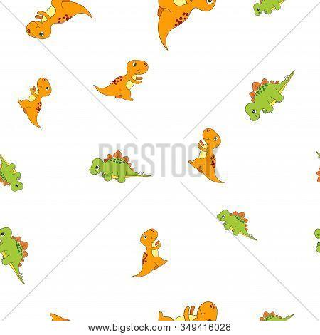 Seamless Pattern Of Dinosaurus Tyrannosaur And Stegosaurus. Isolated On White Background. Vector Ill