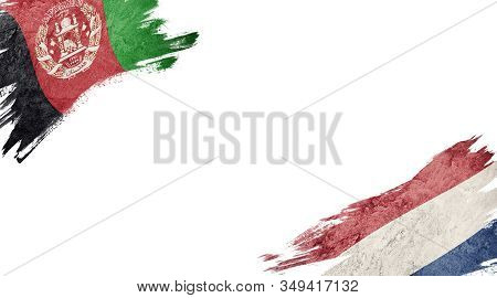 Flags Of Afghanistan And Nederland On White Background
