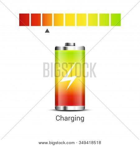 Battery Power Energy Icon. Battery Level Charge Vector Indicator Icon