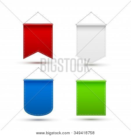 Red White Blue Green Pennant Flag Award Banner. Blank Pennant Design Template Mockup. Empty Space Ad