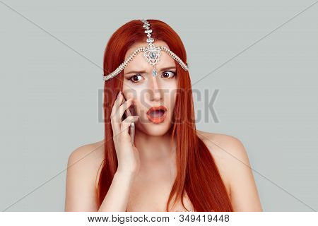Shocking Phone Talk. Shocked Unhappy Woman  Talking At Mobile Phone Listening Receiving Very Bad Sho