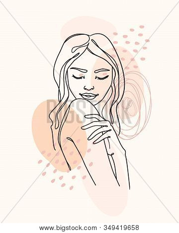 Vector Drawing Continuous Line Style, Beautiful Dreaming Woman With Abstract Texture. Abstract Minim