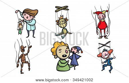 Set Of Puppets, Marionettes, Young Boys Puppet Masters Vector Illustration