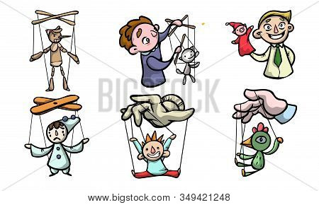 Set Of Puppets, Marionettes And Boys Puppet Masters Vector Illustration