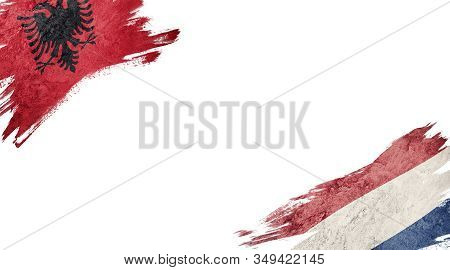 Flags Of Albania And Nederland On White Background