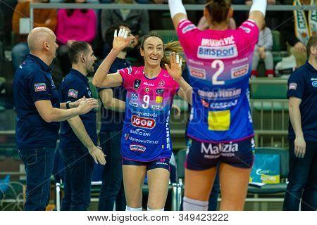 Odessa, Yuzhny, Ukraine - Febr 4, 2020. Women European Volleyball Championship. Vk Khimik - Ukraine