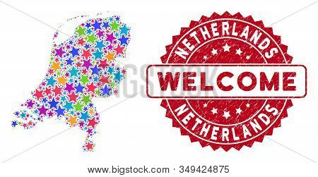 Colorful Netherlands Map Mosaic Of Stars, And Distress Round Red Welcome Stamp Seal. Abstract Geogra