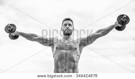 Healthy Mind In Healthy Body. Muscular Man Exercising With Dumbbell. Dumbbell Exercise. Strong Bicep