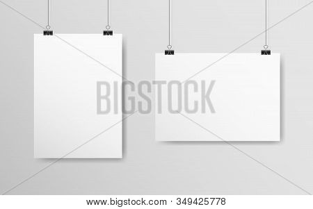 Empty White Mockup Set. Poster A4 Hanging On A Gray Wall. White Paper With Soft Shadow. Realistic Ba