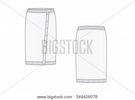 Knitwear Technical Drawing Of Skirt .front View And Back. Vector Illustration.