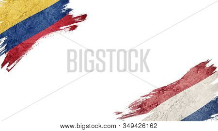 Flags Of Colombia And Nederland On White Background