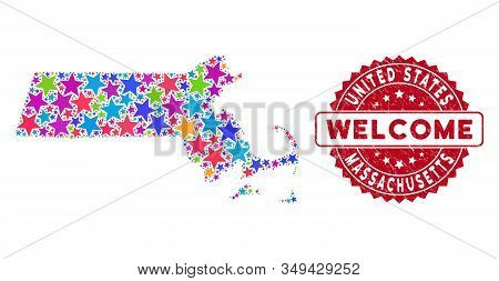 Bright Massachusetts State Map Composition Of Stars, And Distress Round Red Welcome Stamp. Abstract