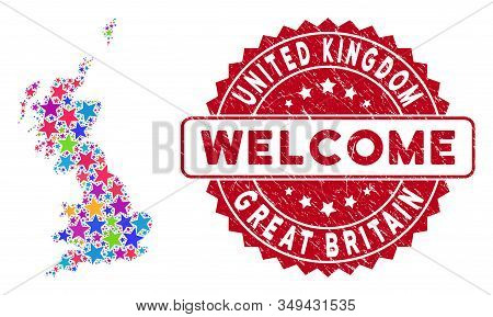 Color Great Britain Map Collage Of Stars, And Scratched Round Red Welcome Seal. Abstract Territorial