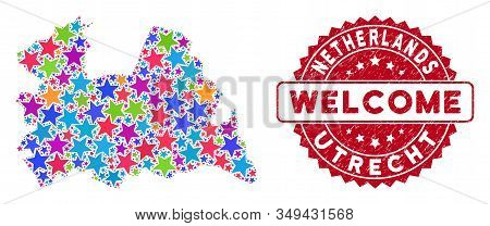 Bright Utrecht Province Map Composition Of Stars, And Textured Rounded Red Welcome Seal. Abstract Te