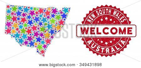 Colorful New South Wales Map Mosaic Of Stars, And Textured Round Red Welcome Stamp. Abstract Territo