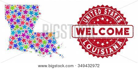 Colorful Louisiana State Map Composition Of Stars, And Scratched Rounded Red Welcome Stamp. Abstract