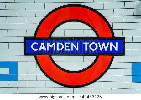 London, Uk - May 17, 2019. Camden Town Tube Sign. Metro Subway Station In London - Camden Town.