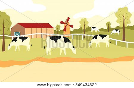 Herd Of Cows Is Grazing On The Green Meadow At The Farm. Cartoon Flat Style. Vector Illustration