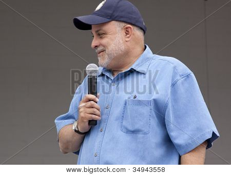 RIDGEFIELD PK, NJ-JULY 14: Famous 77 WABC radio host and dog lover Mark Levin speaks to an audience at the 2nd Annual Bark In The Park on July 14, 2012 in Ridgefield Park, NJ.