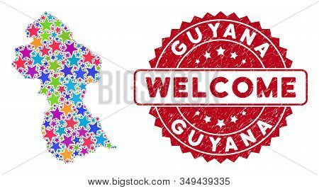 Bright Guyana Map Collage Of Stars, And Grunge Round Red Welcome Stamp Seal. Abstract Territorial Pl