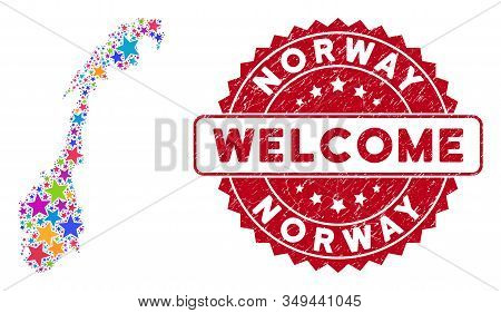 Colorful Norway Map Composition Of Stars, And Grunge Round Red Welcome Stamp Seal. Abstract Territor